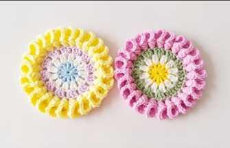 钩针编织可爱的喇叭花片隔热垫