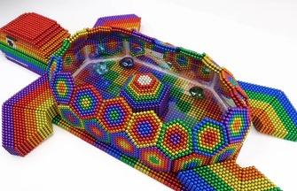 手工磁力球模型,海龟水池的快速拼装过程