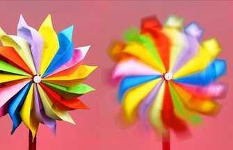 折好能迎风旋转的七彩斑斓纸玩具风车