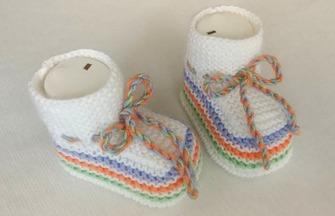 棒針編織教程,寶寶系帶鞋的編織方法