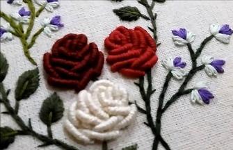 手工绣花教程,玫瑰花图案的刺绣方法