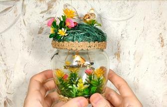 如何用玻璃杯制作鸟巢装饰品