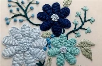 手工刺绣作品,刺绣花卉图案的方法