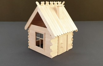 利用雪糕棍制作的可爱小木屋房子