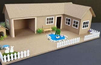 纸板花园房屋模型的制作方法
