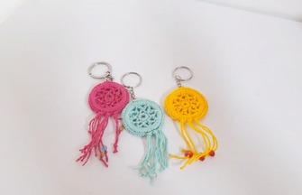 毛線編織教程,時尚鑰匙鏈掛件的鉤織方法