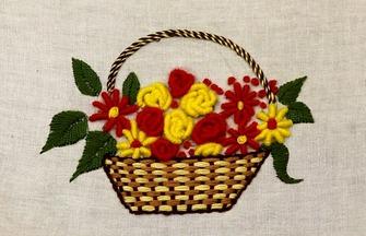 民間刺繡作品,一個美麗花籃圖案的簡單繡法
