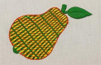 手工刺绣作品,如何刺绣梨形图案