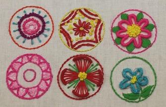 手工刺绣教程,6种简单花朵图案的绣法