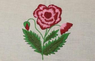 刺繡工藝作品,如何刺繡一朵簡單的玫瑰花