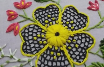 手工刺绣作品,如何刺绣网格花朵图案