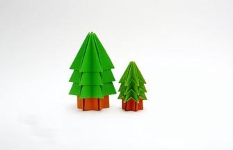 如何用单张纸折小树