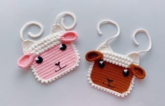 钩针编织,卡通婴儿小羊款围兜围嘴口水巾