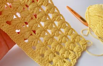 中长针的枣形针编织出蓬松柔软的镂空效果