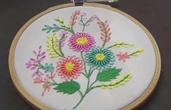 手工刺绣作品,如何刺绣漂亮的网状花朵