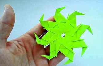 教你折纸帅气的八角绿宝石飞镖