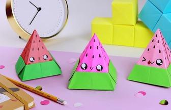 手工紙藝DIY,如何折疊可愛的西瓜收納盒